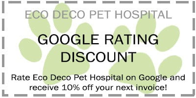 Eco Deco coupon. Google rating discount receiver 10% off your next invoice